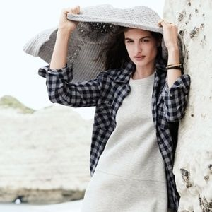 Madewell Flannel Buffalo Check Black and Grey Top